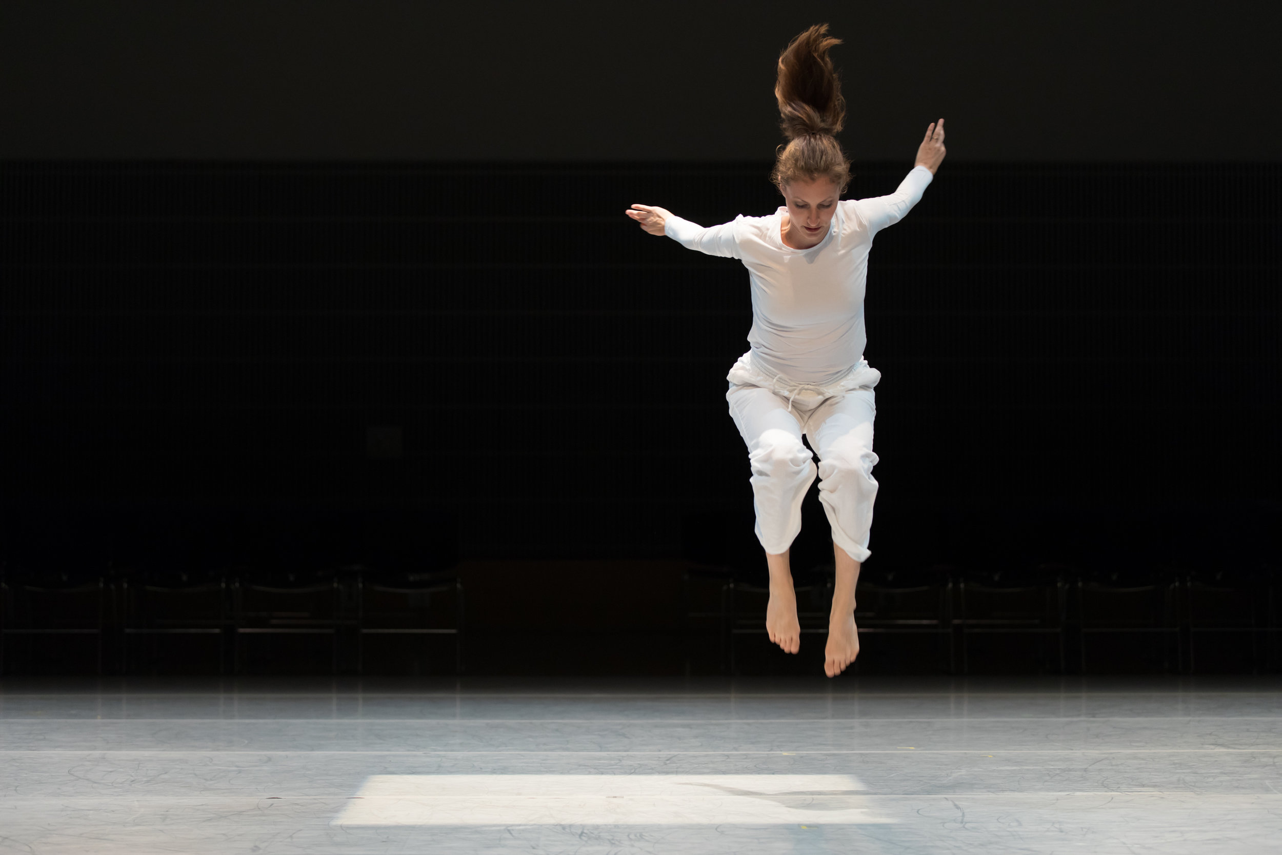 Dancer Sarah Chenoweth performs Trisha Brown's  Locus Solo (1975) as part of HMD's 2016 Bridge Project, Ten Artists Respond to  Locus . Photo by Margo Moritz.