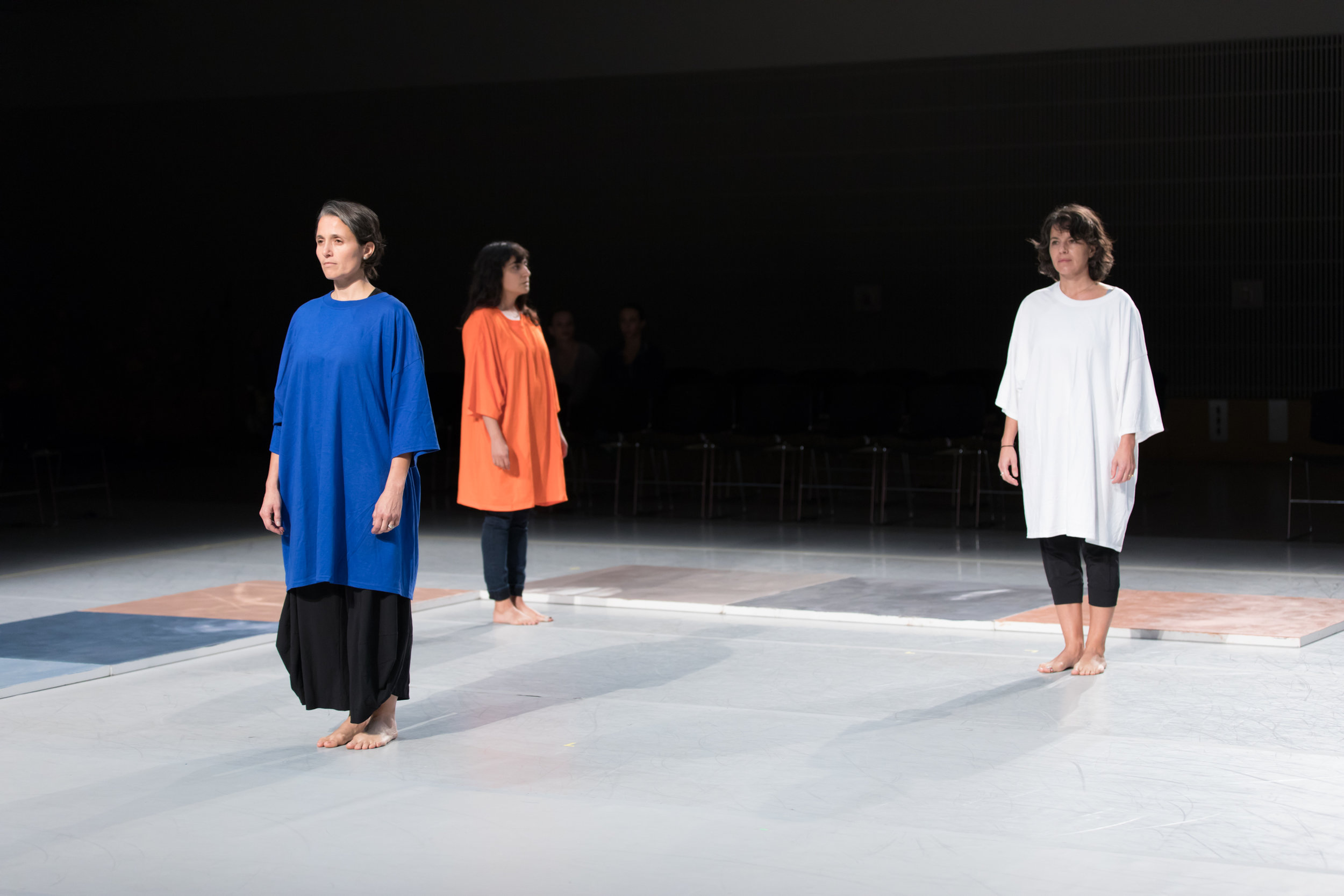 "Affinity Project performing  Color grid with talking  (after   Locus), part of ""Ten Artists Respond to  Locus. "" Featured performers (L to R): Nora el Samahy, Atossa Babaoff, Bea Basso.  Photo by Margo Moritz."