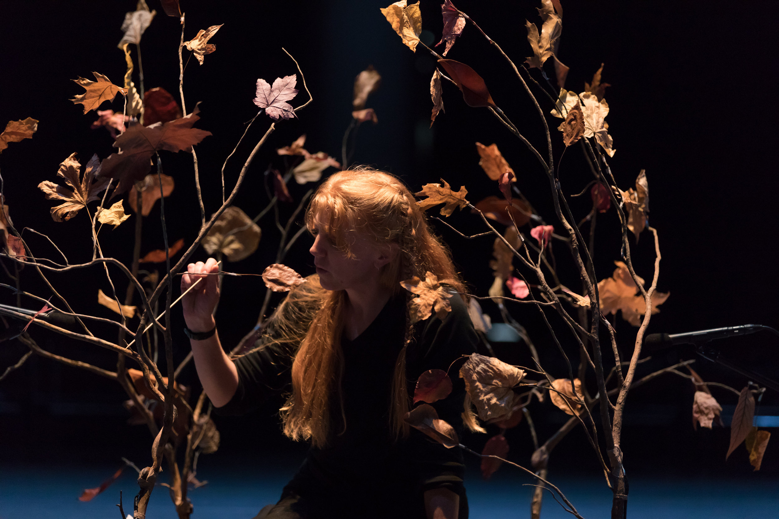Cheryl Leonard performing  Asterisms  at Yerba Buena Center for the Arts. Photo by Margo Moritz.