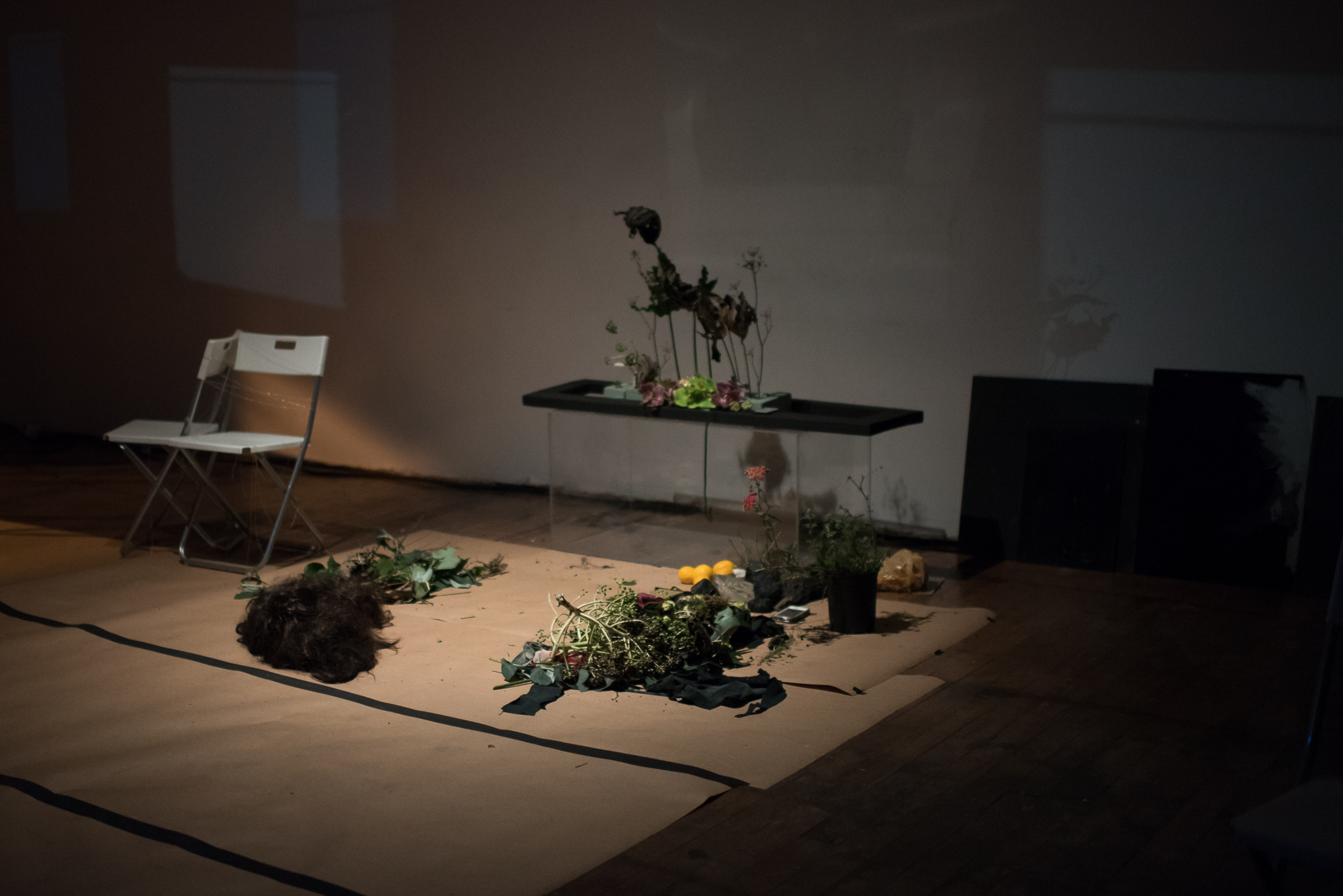 """Faux Ikebana & wig"" installation and ephemera,  .bury.me.fiercely.. 2018  Photo by Hillary Goidell."
