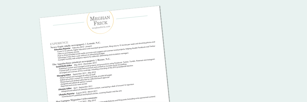 Client Spotlight: Meghan's Resume -- Hue & Tone Creative