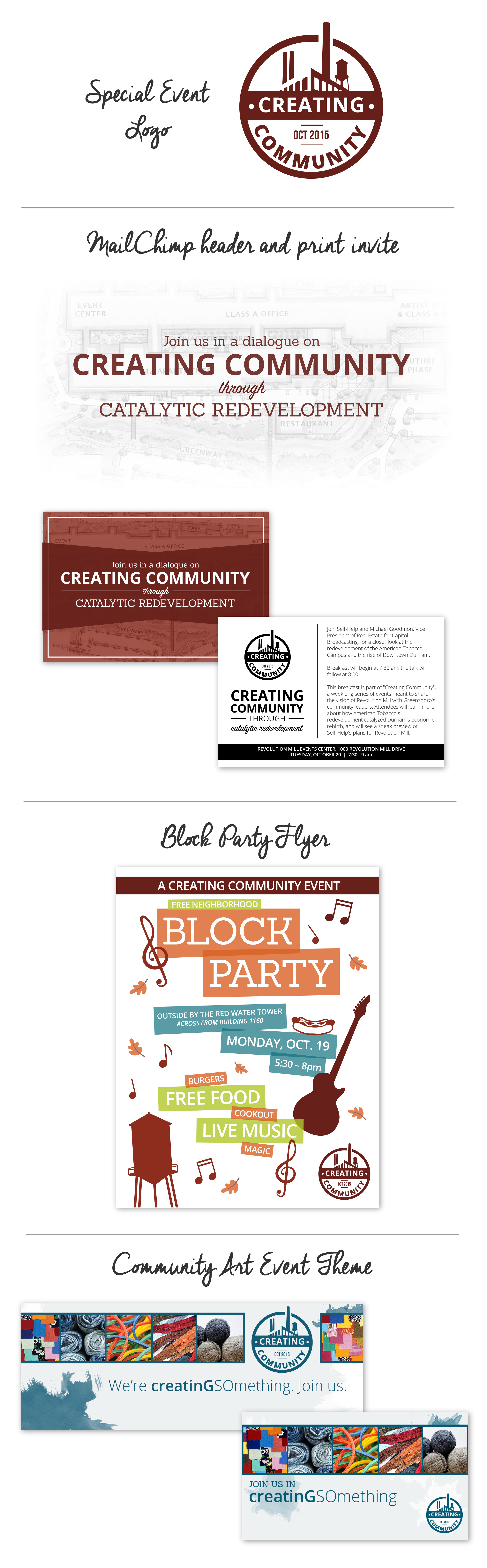 Print and web collateral for Revolution Mill Creating Community Week -- Hue & Tone Creative