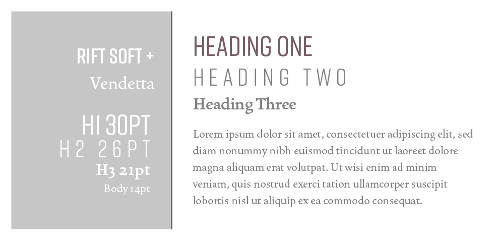 Rift Soft + Vendetta  |  Squarespace Font Pairings  |  Hue & Tone Creative