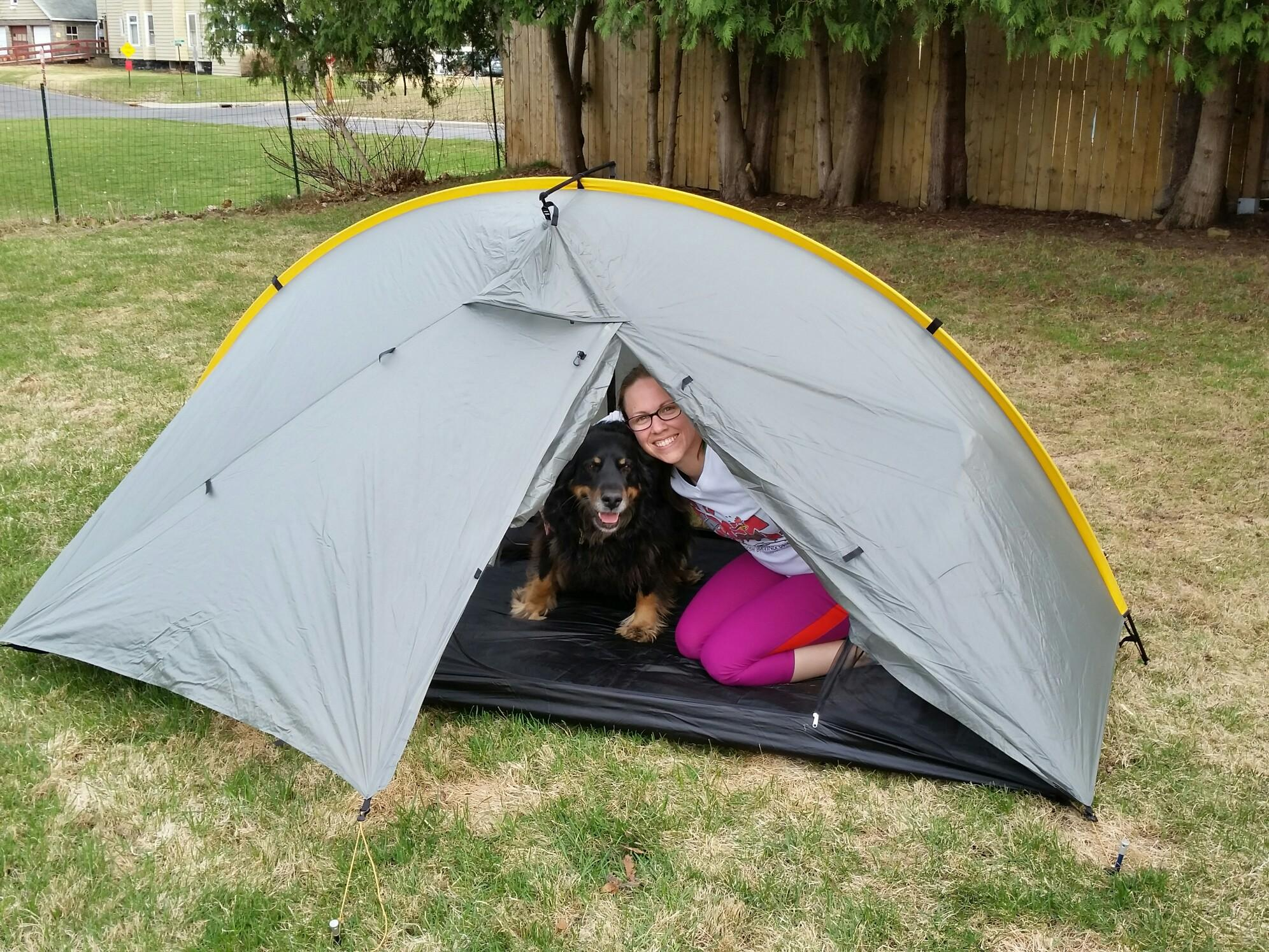 Gracie and me in our Tarptent last night.