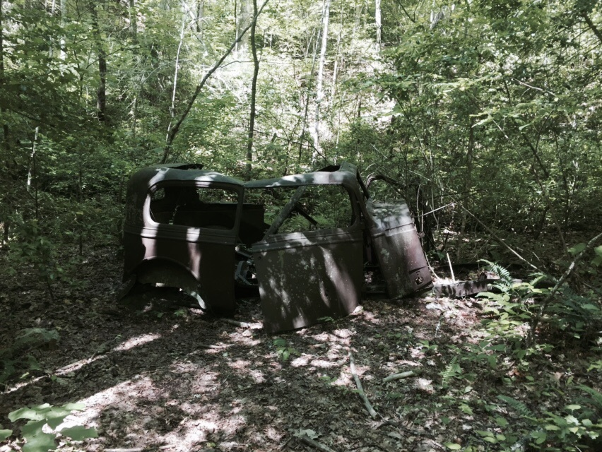 One of many abandoned cars along the trail