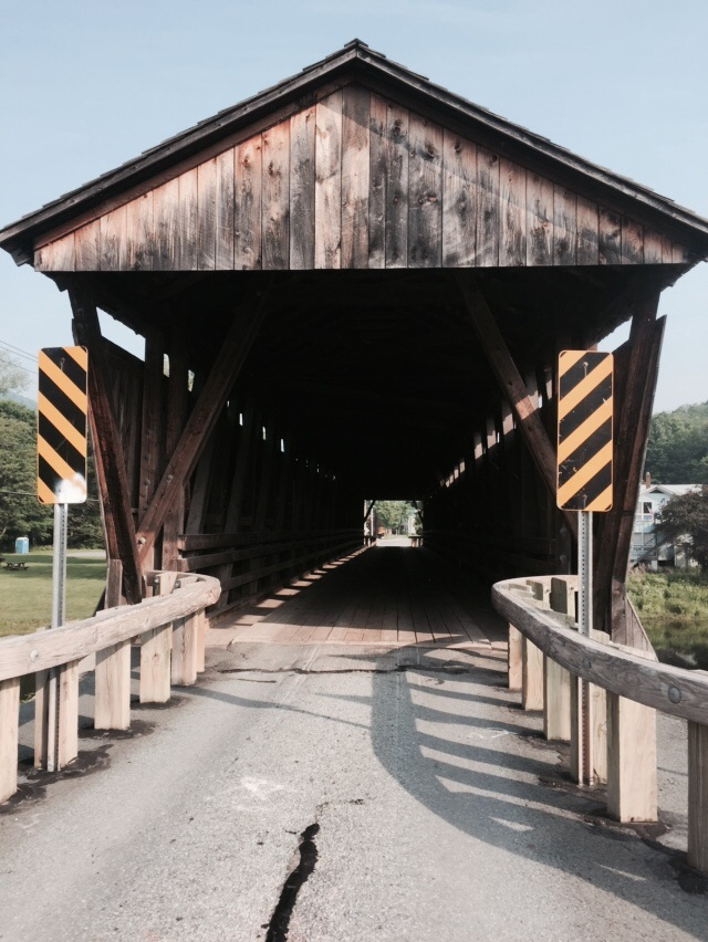 Walking the covered bridge into town, built in 1856.