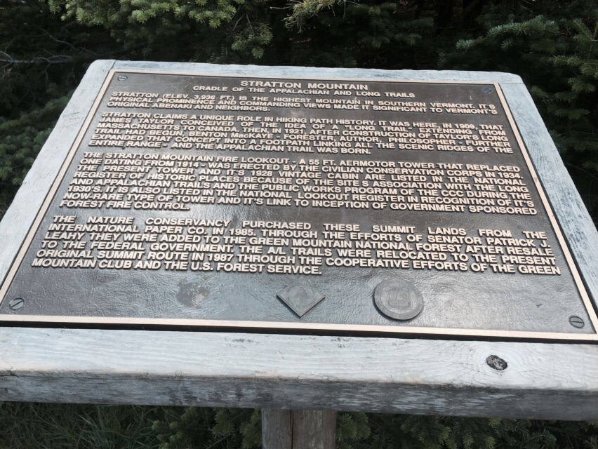 The plaque on top of Stratton Mountain.