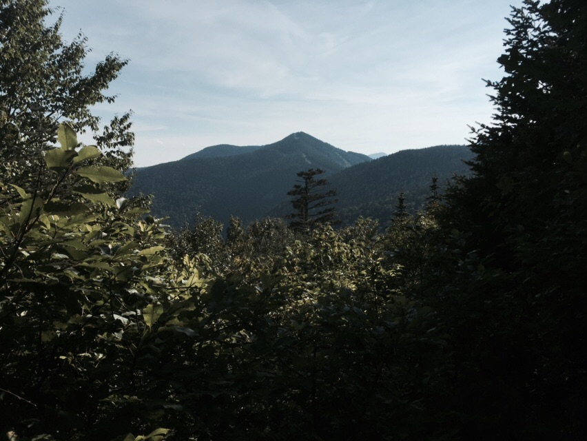 The view of Madonna Peak and the Nose of Mansfield from the Whiteface shelter.