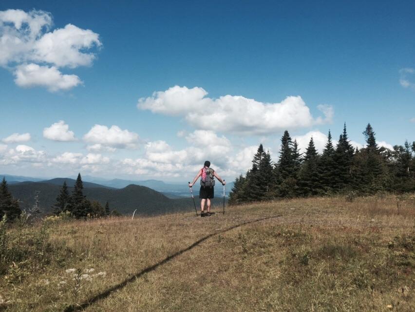 NoKey hiking down Jay Peak.
