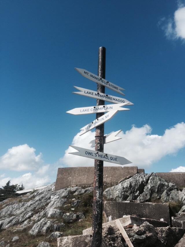 Directional signage on Jay Peak