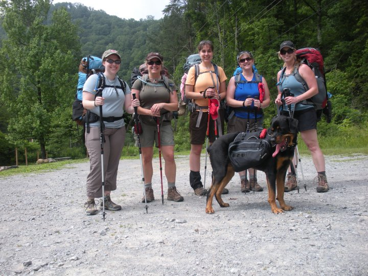 My first women-only backpacking trip.  I'm the one on the far left if you can believe it!