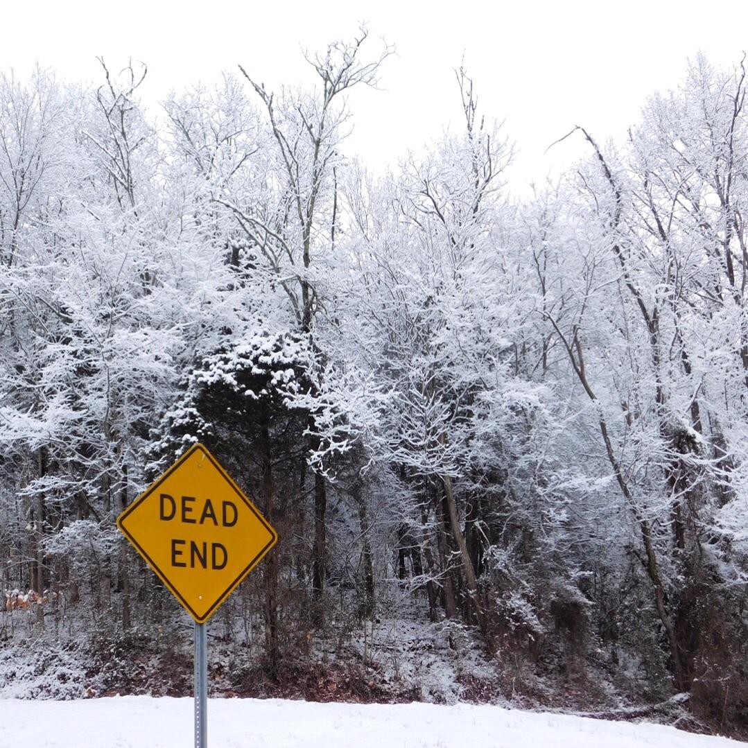 A snowy scene.