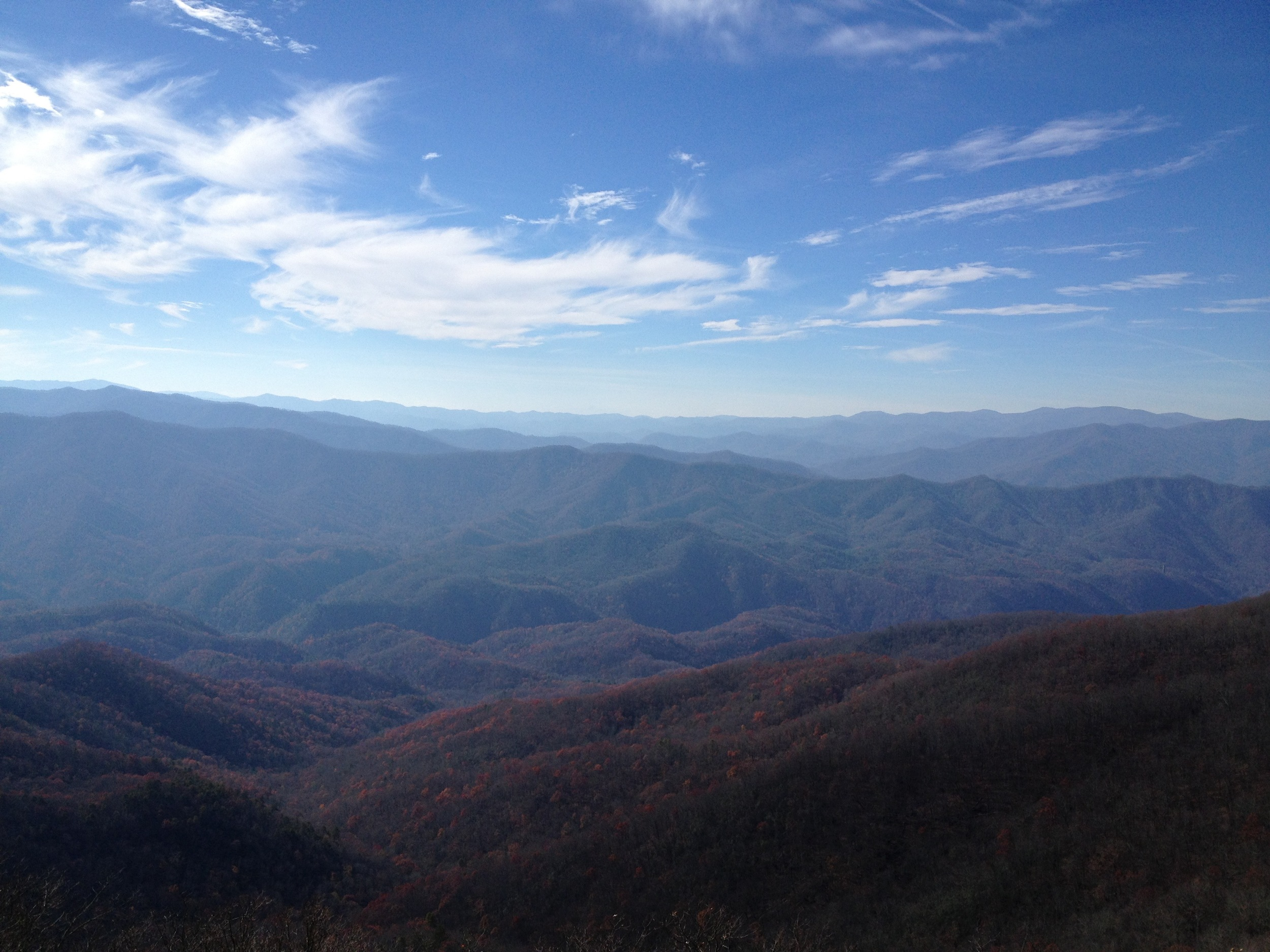 The view looking toward Nantahala National Forest from Shuckstack in the fall. It's easy to see why the mountains around us are called the Blue Ridge Mountains!