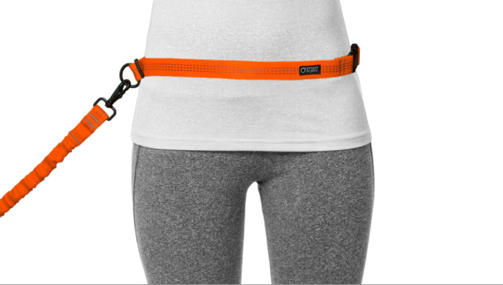 A photo from the Stunt Puppy website shows how the leash can be worn on the waist!