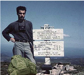 Earl Shaffer atop Katahdin in 1948 with his pack (photo from earlshaffer.com)