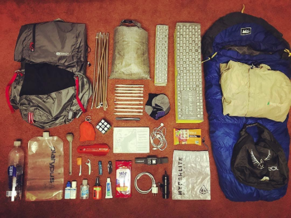 An example of what a thru hiker would carry on the AT courtesy of @GossamerGear on Instagram ( @ryanshamy  original)
