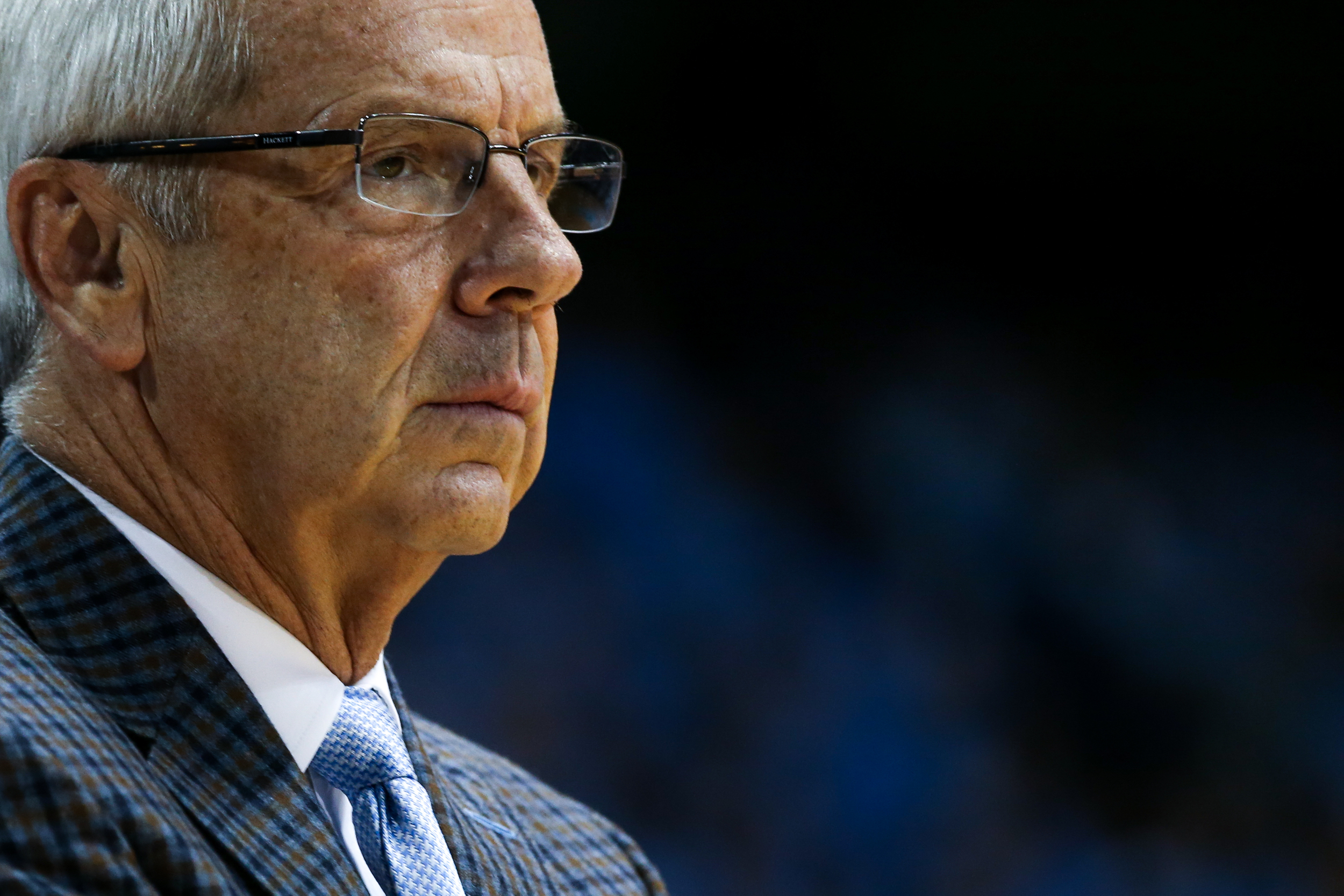 North Carolina's Coach Roy Williams strategizes during the men's preseason exhibition game against Guilford at the Dean Smith Center on Friday, Nov. 6, 2015. UNC defeated Guilford 99-49.