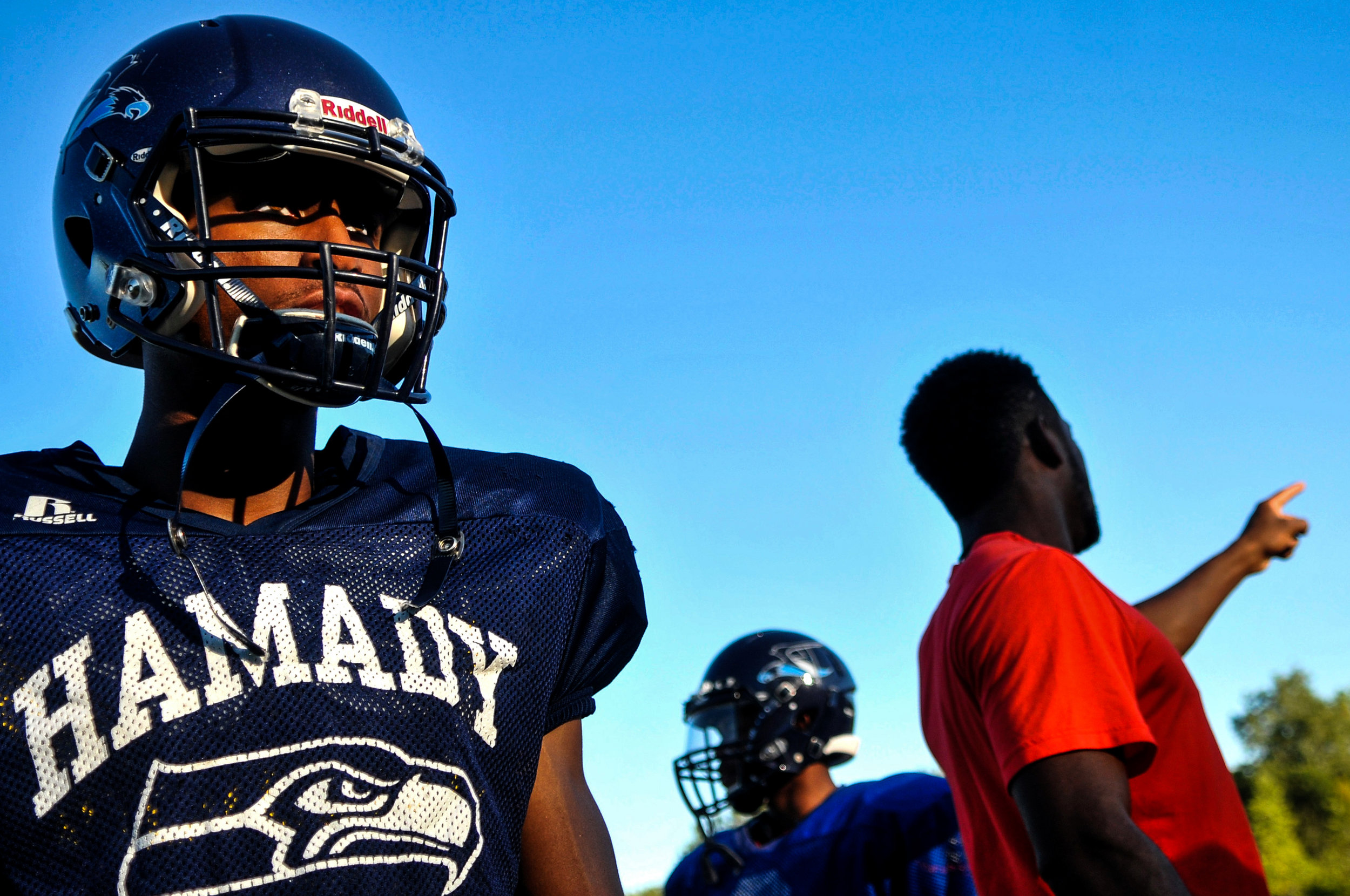 Hamady High School quarterback Amarr Blake, left, attends football practice on Tuesday, Sept. 20, 2016 at Hamady High School in Flint. Hamady High School is scheduled to play Durand High School on Friday at 7 p.m. at Durand.