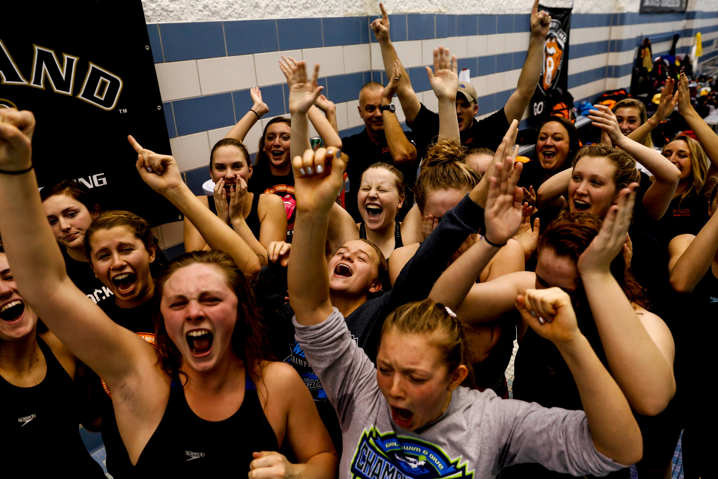 Rockford swimmers celebrate after being named the MHSAA D1 girls swimming champions on Saturday, Nov. 19, 2016 at Oakland University in Rochester.