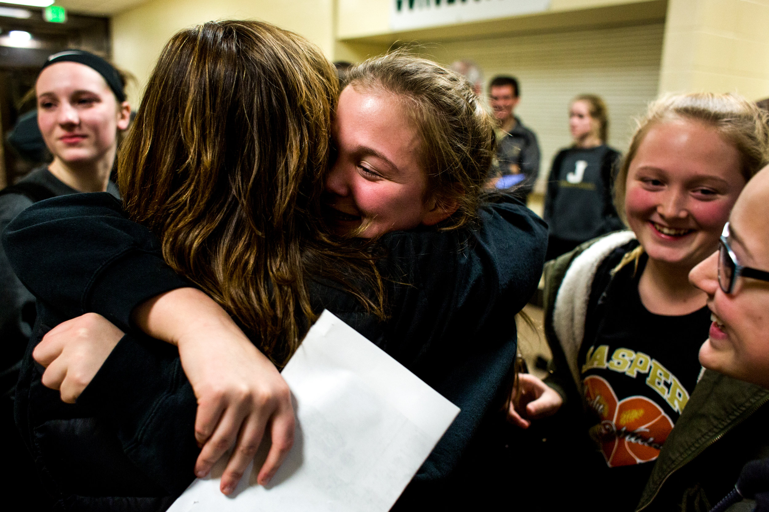 Jasper's Lindsey Leinenbach hugged her mother Laura of Jasper after Tuesday night's Class 3A girls basketball sectional opener at Vincennes Lincoln High School in Vincennes. Jasper lost 56-42.