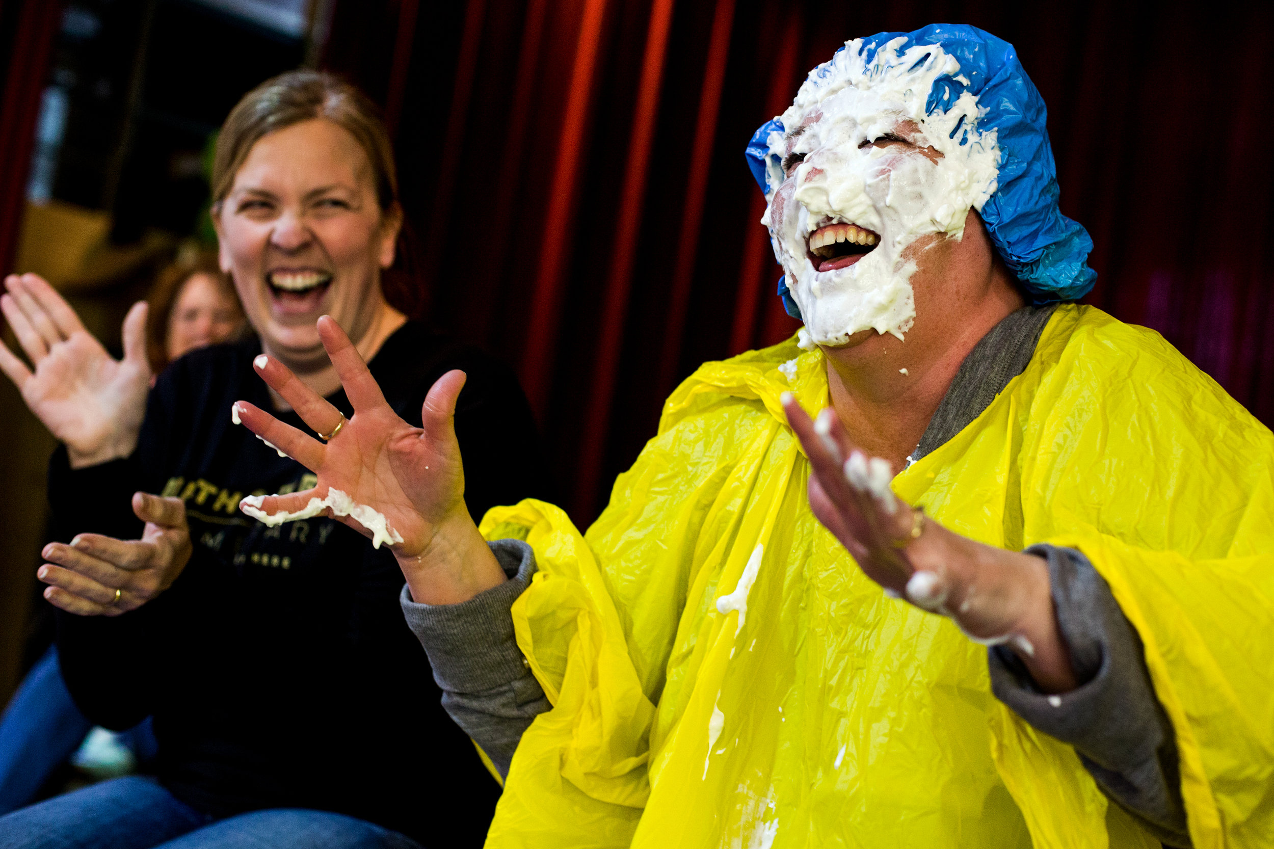 Fifth Street School second-grade teacher Karen Pieper laughed after student Makenna Cummins threw a cream pie in her face Thursday during the Jasper school's fundraiser for Mentors for Youth Super Strikes. The school registered two teams in the annual Super Strikes event and raised more than $1,400, exceeding the goal by more than $400.