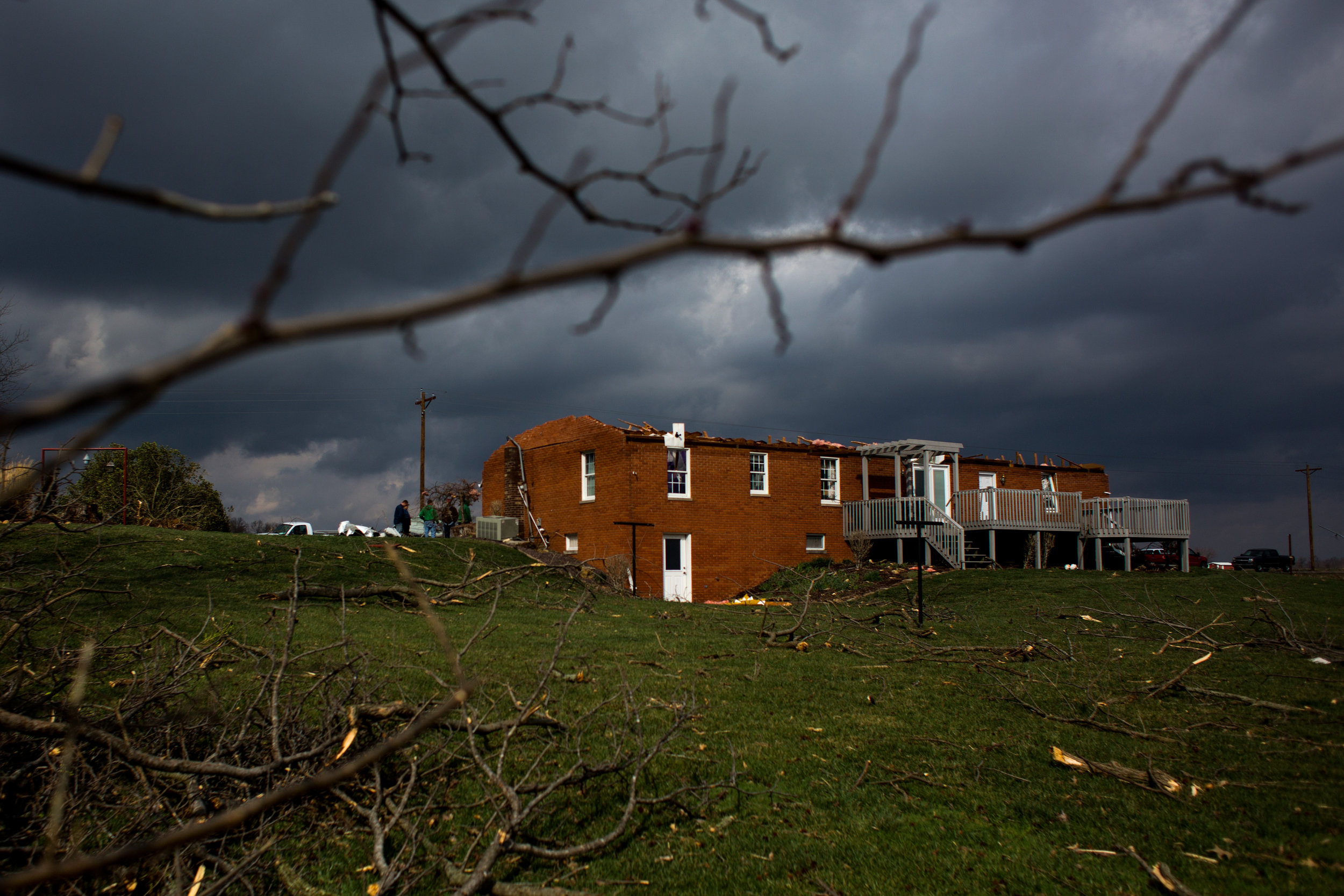 A tornado blew the roof off of Ed and Kathy Vollmer's home in Ireland Wednesday,March 1, 2017.