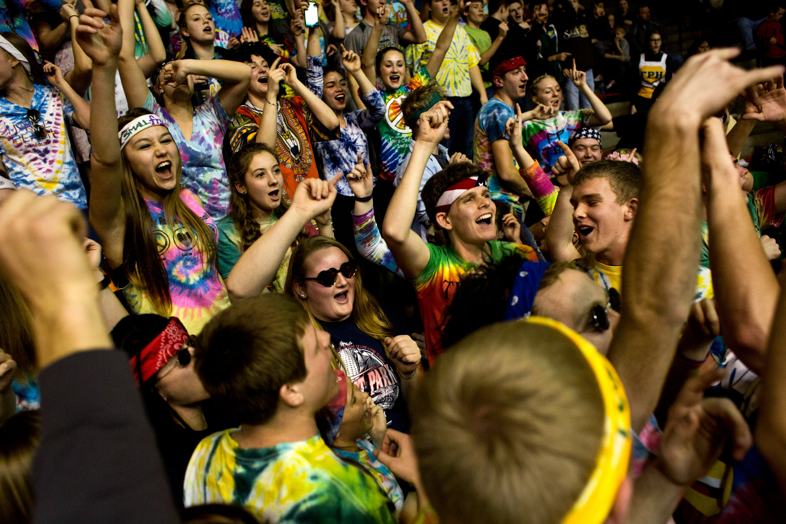 Forest Park's student section cheered on the Rangers during Friday night's Class 2A sectional semifinal at Memorial Gym in Huntingburg. Forest Park defeated Tell City 31-27.
