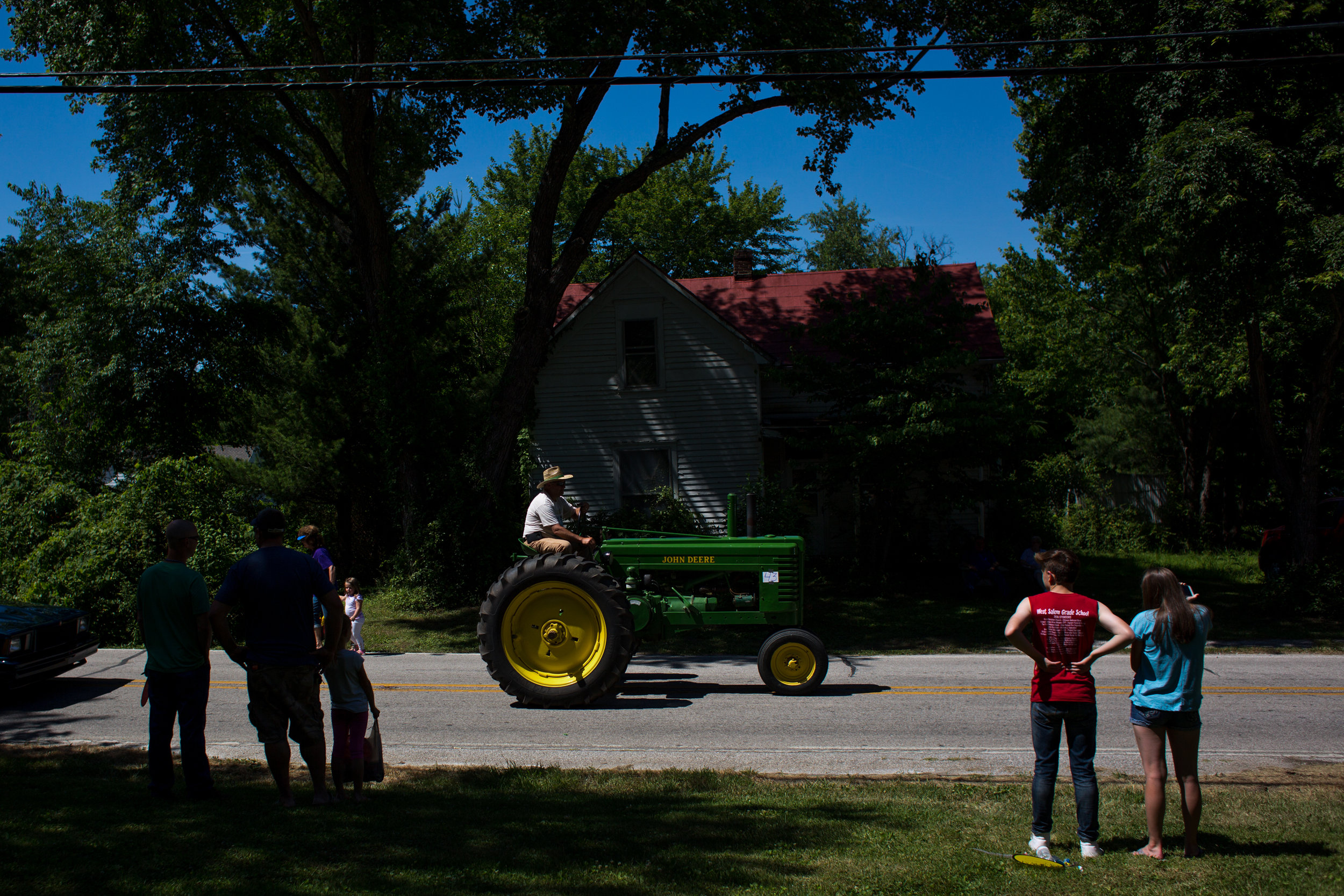 Mike Whaley of Otwell drove his tractor in the parade during the town of Stendal's sesquicentennial celebration Saturday.