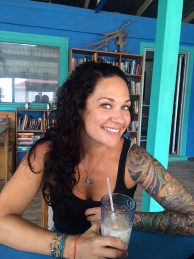 I'm choosing iced coffee today. Roatan, Honduras.