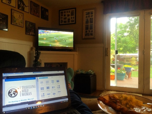 """In a recliner, eating breakfast, watching a soccer game. And """"working"""". I didn't get very much done that day."""