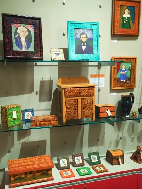 Kristin Helberg boxes and paintings in NY Historical Society Gift Shop