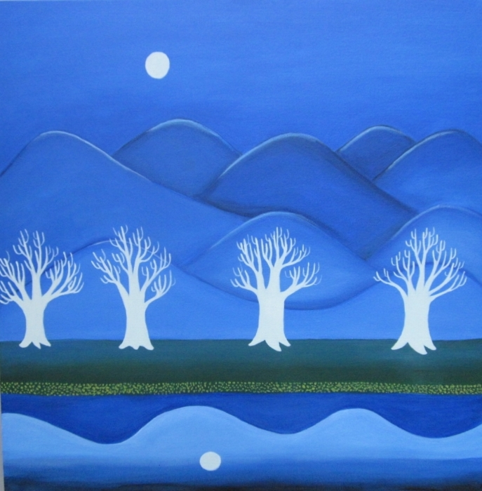 """Blue Hills  c Kristin Helberg 2025 oil on canvas 24"""" x 24"""""""
