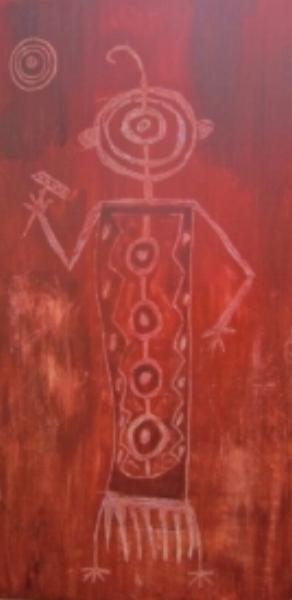 """Petroglyph 1  c Kristin Helberg 2015 12"""" x 24"""" acrylic on canvas"""