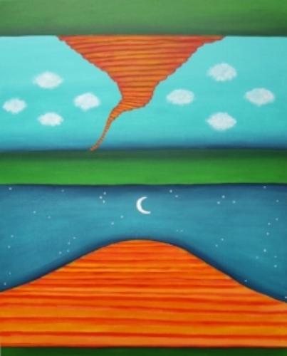 "Parallel Universe  c Kristin Helberg 2015 acrylics on canvas 24"" x 30"""