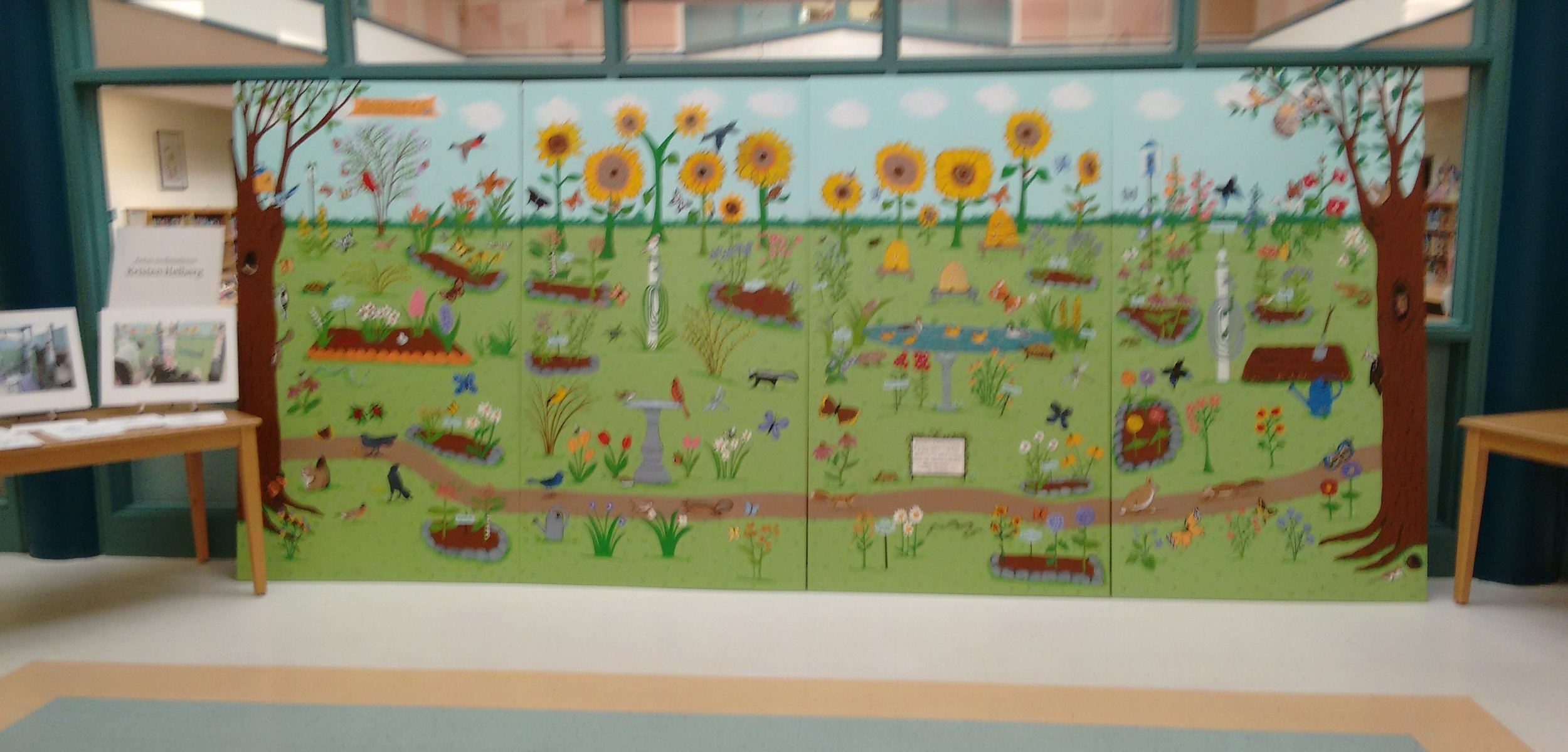 Butterfly Garden Mural on display in lobby