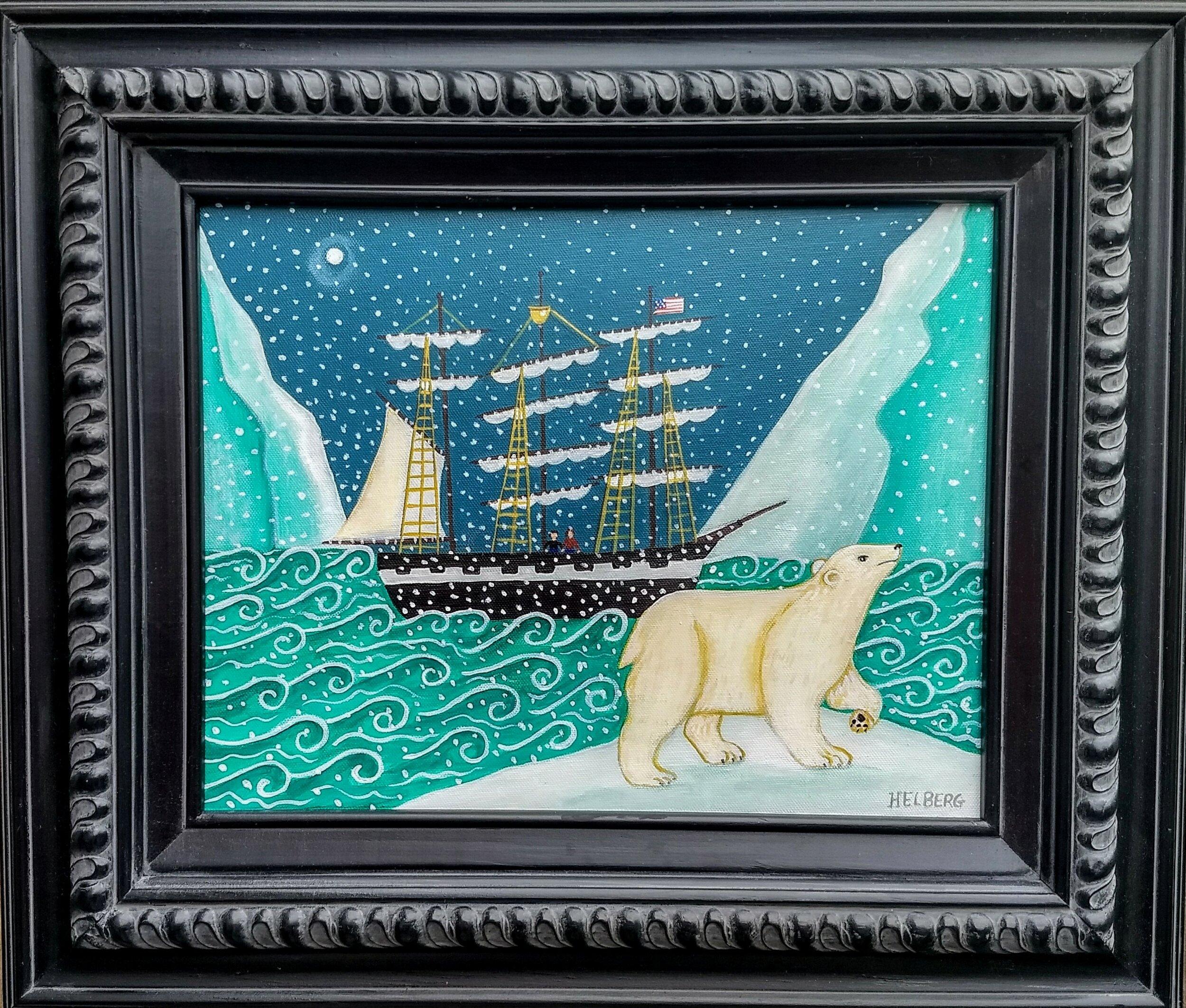 "21"" w x 18""h oil on canvas   Polar Voyage c Kristin Helberg 2018    $495.00 plus shipping"