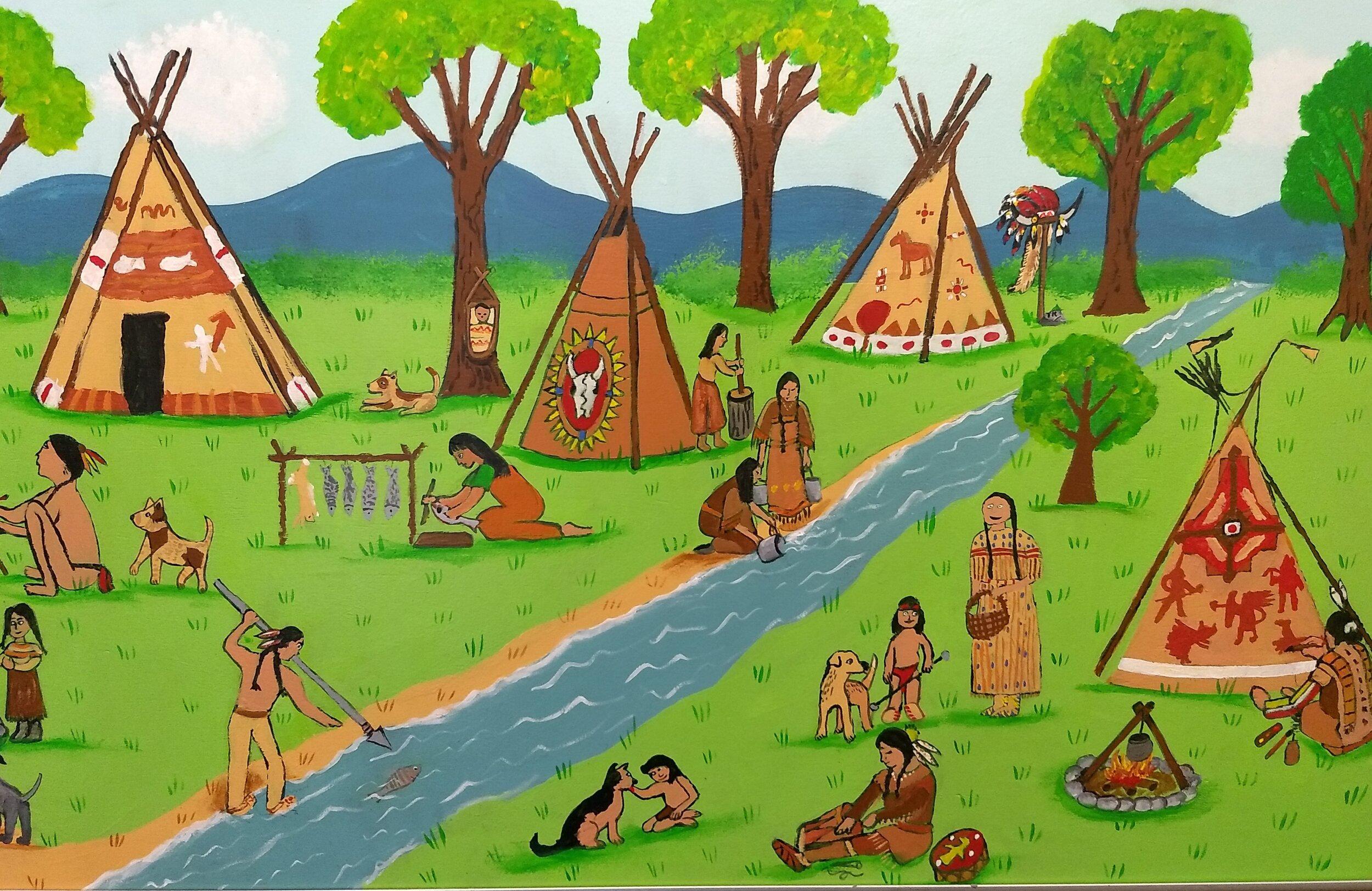 Plains Indians mural 2019 Resurrection St. Paul School