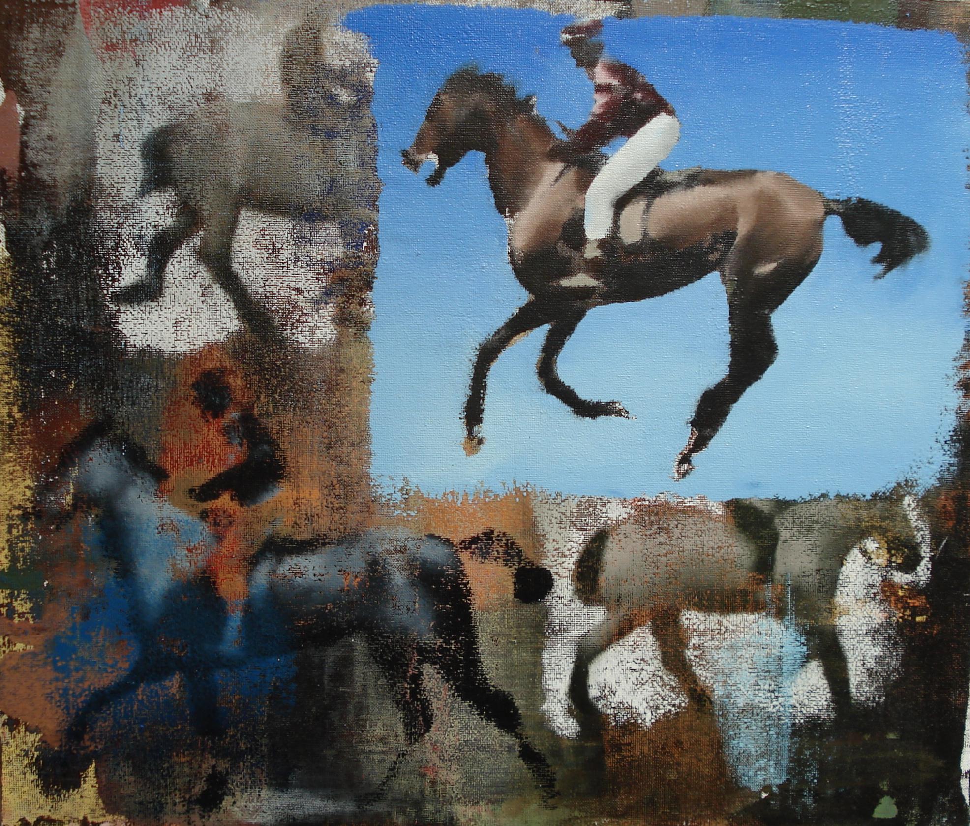 """Blue Rider, Oil on Linen on Panel, 2011, 26"""" x 30"""""""