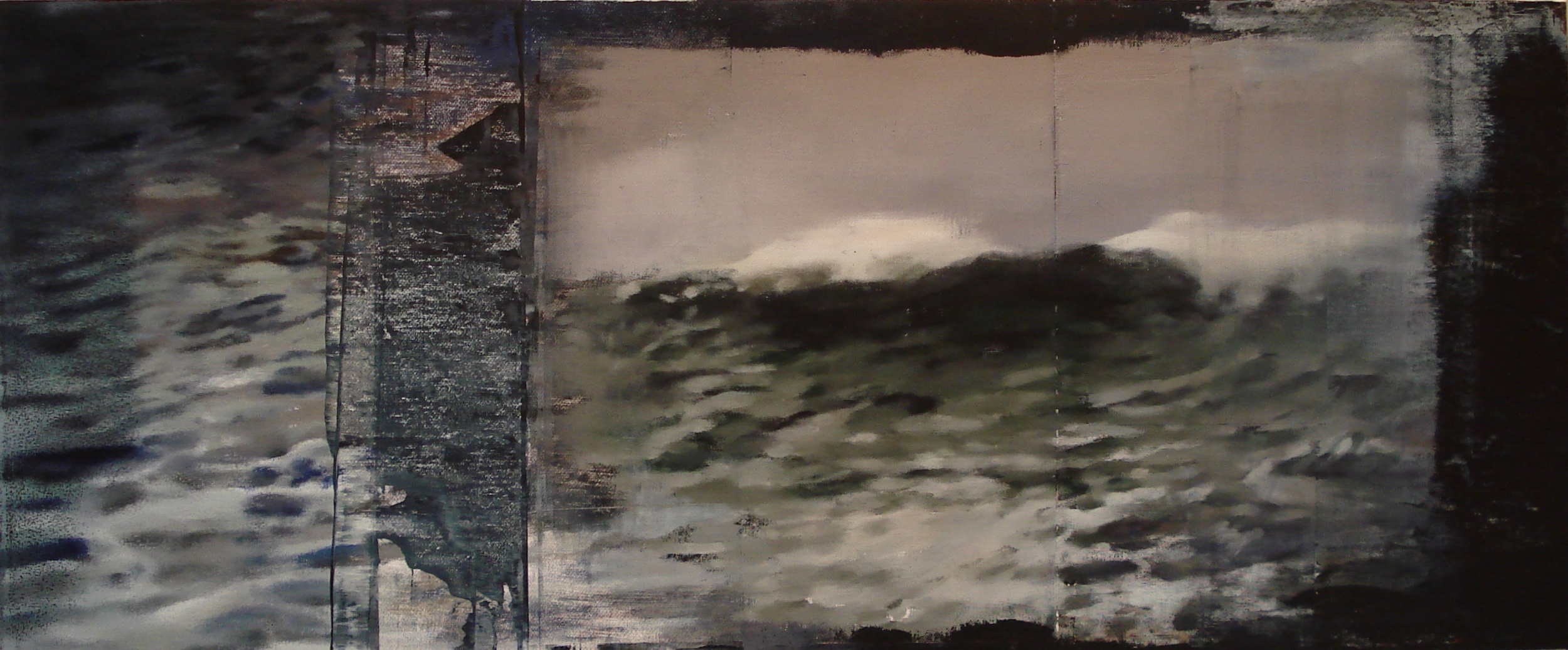 "Storm At Sea, Oil on Linen on Panel, 2010, 30"" x 72"""