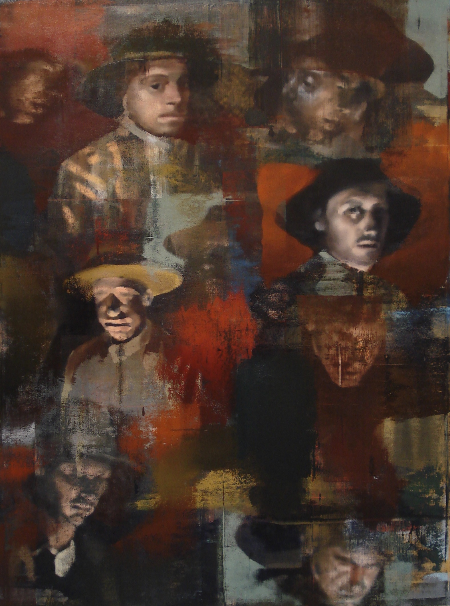 "Candlelight Faces, Oil on Linen on Panel, 2009, 80"" x 60"""