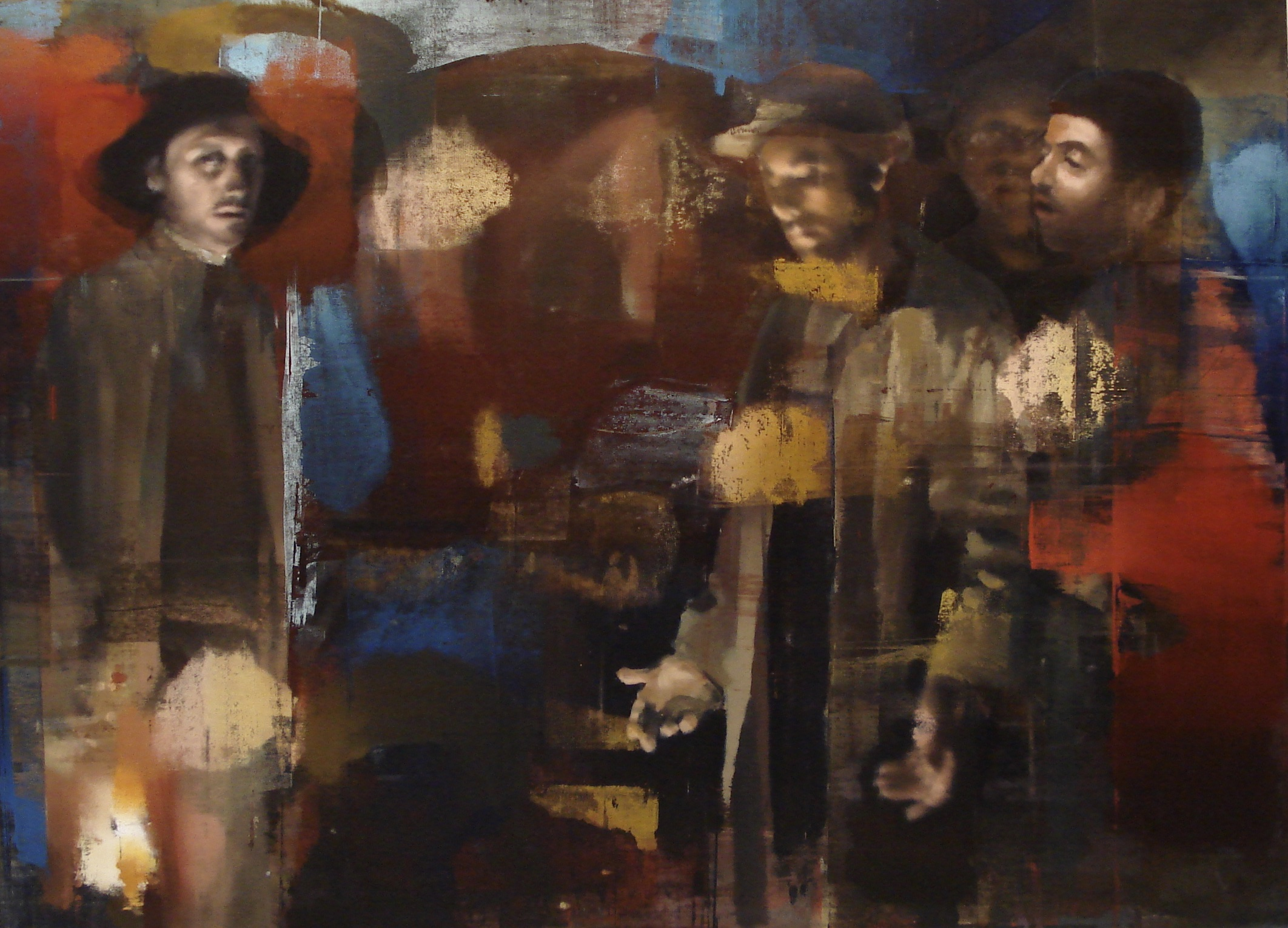 "In the Mines, Oil on Linen on Panel, 2009, Triptych (78"" x 108""), Center Panel"