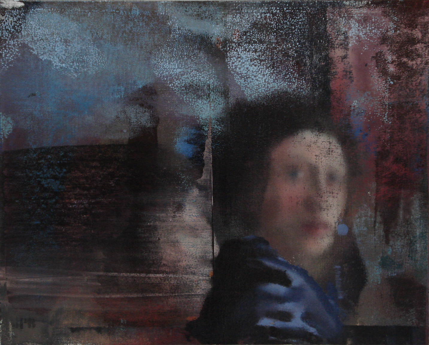"""Woman in Blue, Oil on Linen on Panel, 2008, 24"""" x 30"""""""