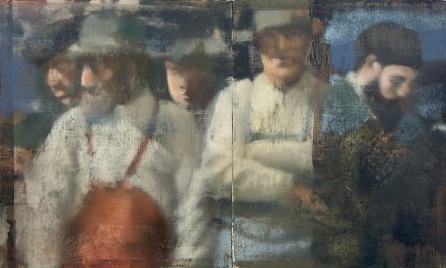 """Line Of Men, Oil on Linen on Panel, 2007, 30"""" x 50"""""""