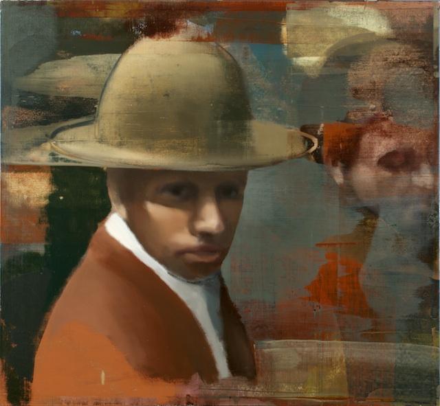 "Man In Crowd, Oil on Linen on Panel, 2007, 48"" x 52"""