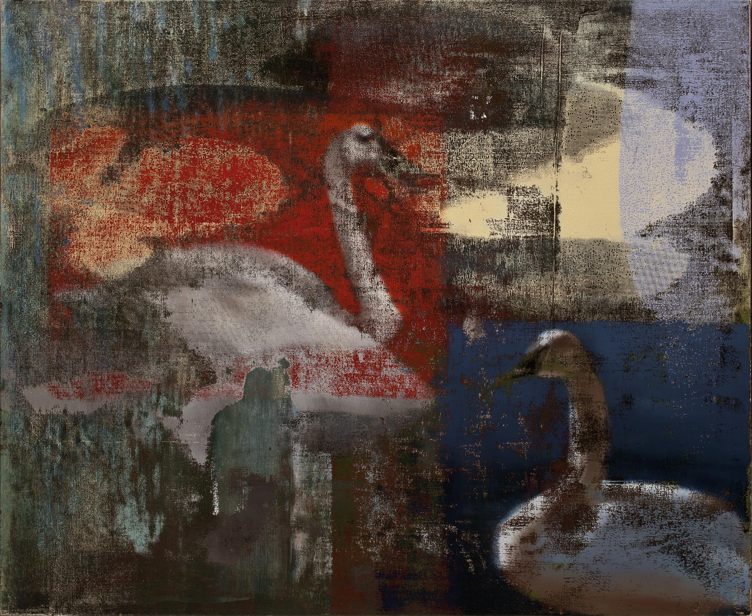 """Swans, Oil on Linen on Panel, 2011, 32"""" x 40"""""""