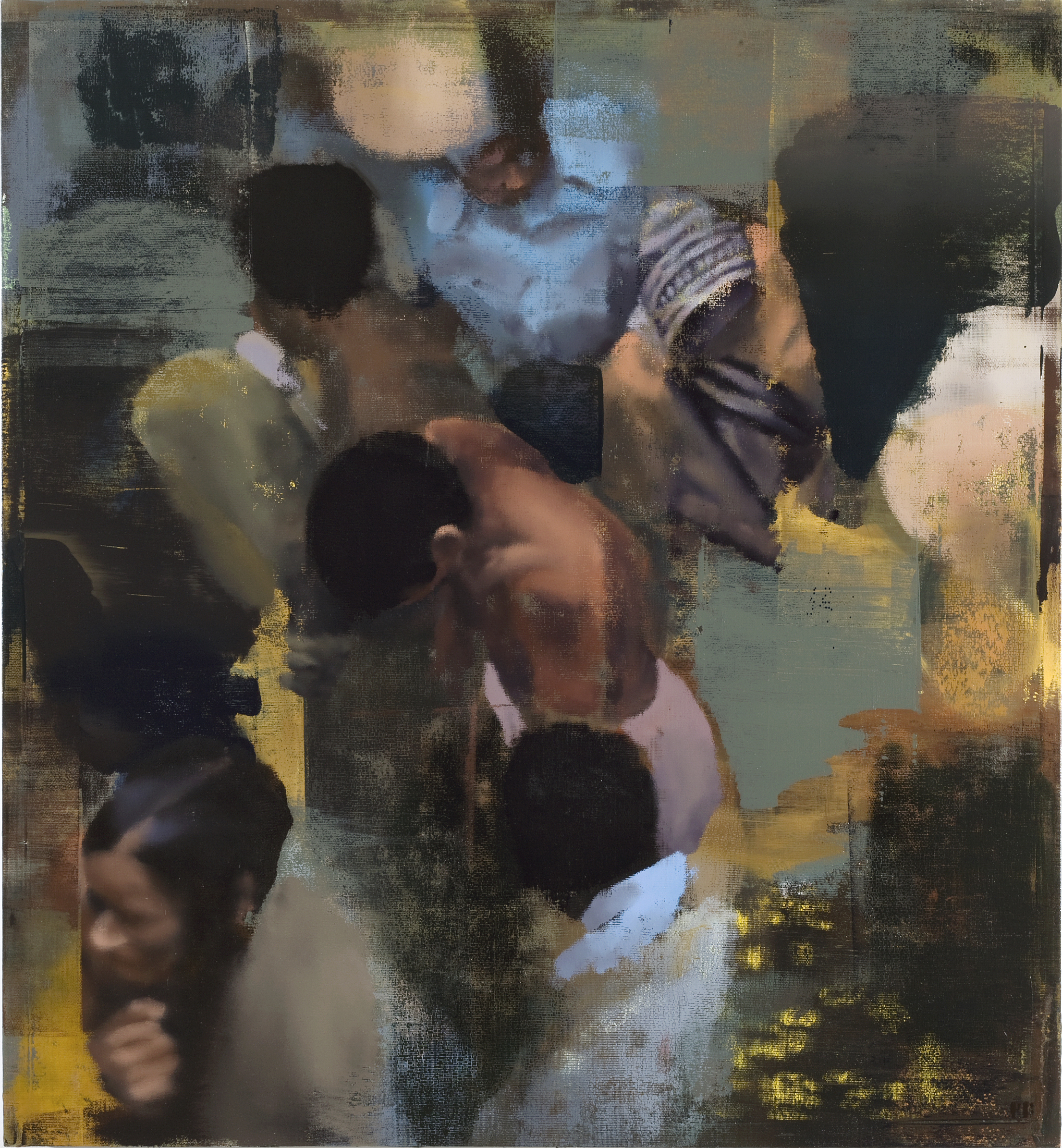 "Evening Crowd, Oil on Linen on Panel, 2008, 52"" x 48"""