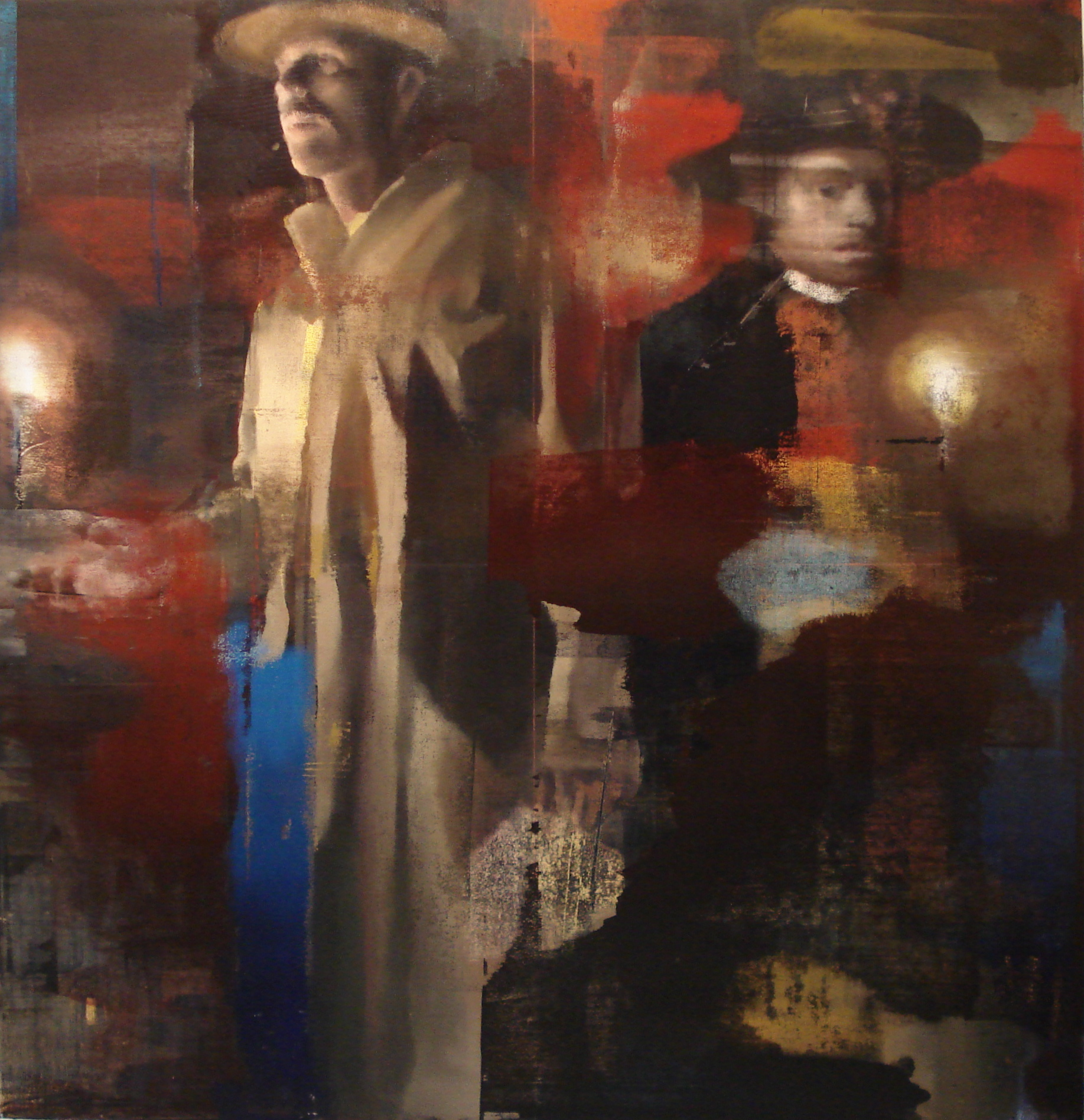 "In the Mines, Oil on Linen on Panel, 2009, Triptych (78"" x 108""), Right Panel"