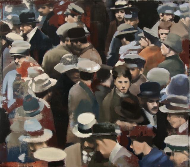 """Crowd, Oil on Linen on Panel, 2007, 60"""" x 68"""""""