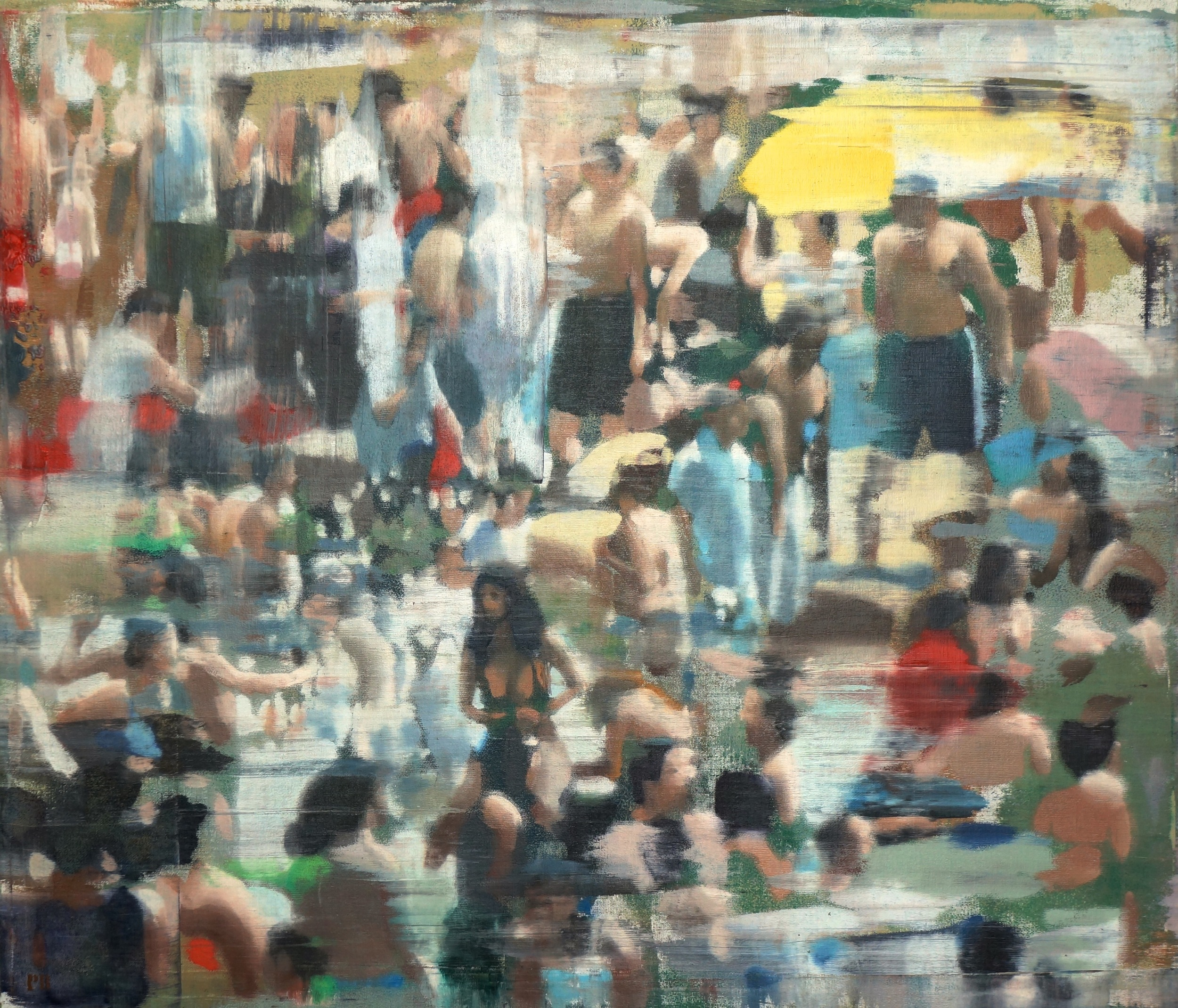"Busy Beach, Oil on Linen on Panel, 2015, 48"" x 56"""