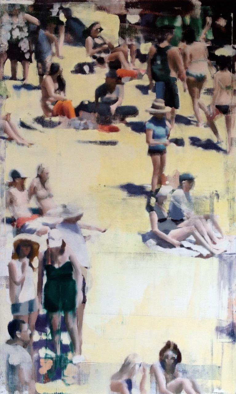 "Figure Ground, Oil on Screen on Panel, 2015, 80"" x 48"""